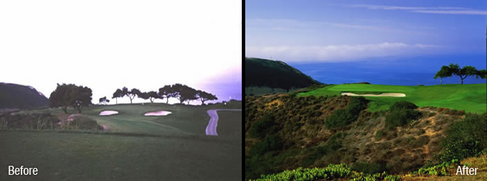 Torrey Pines South Hole 3 before an After